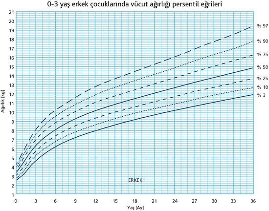 0-3 Yaş Erkek Çocuklarında Vücut Ağırlığı Persentil Eğrileri